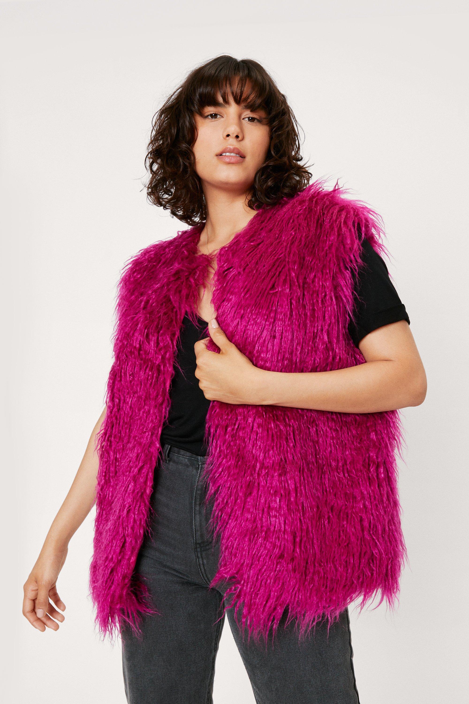 Shawls & Wraps   Fur Stole, Lace, Fringe Womens Shaggy Faux Fur Sleeveless Gilet - Orchid - 10 $34.00 AT vintagedancer.com