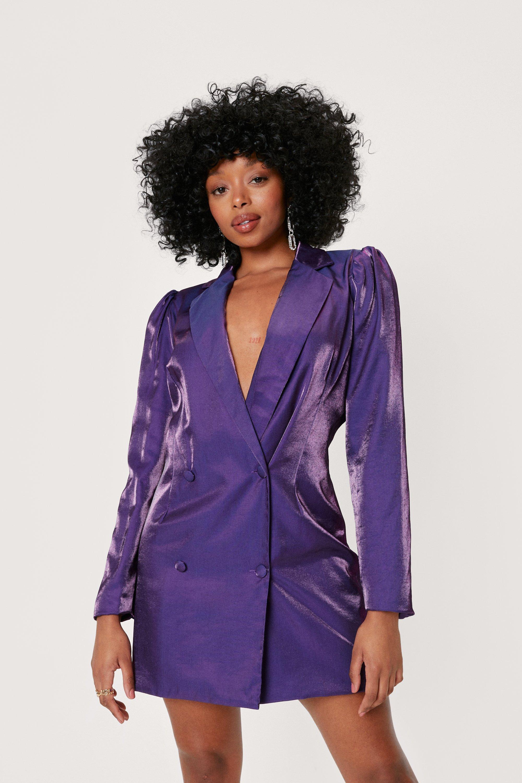 80s Outfit Inspiration, Party Ideas Womens Petite Metallic Deep V-Neck Blazer Dress - Purple - 10 $94.00 AT vintagedancer.com