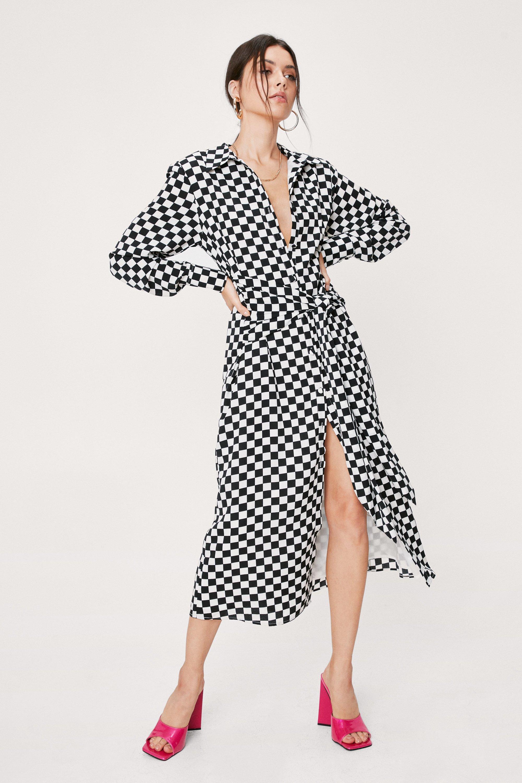 Vintage Style Dresses | Vintage Inspired Dresses Womens Checkerboard Tie Front Midi Shirt Dress - Black - 10 $38.50 AT vintagedancer.com