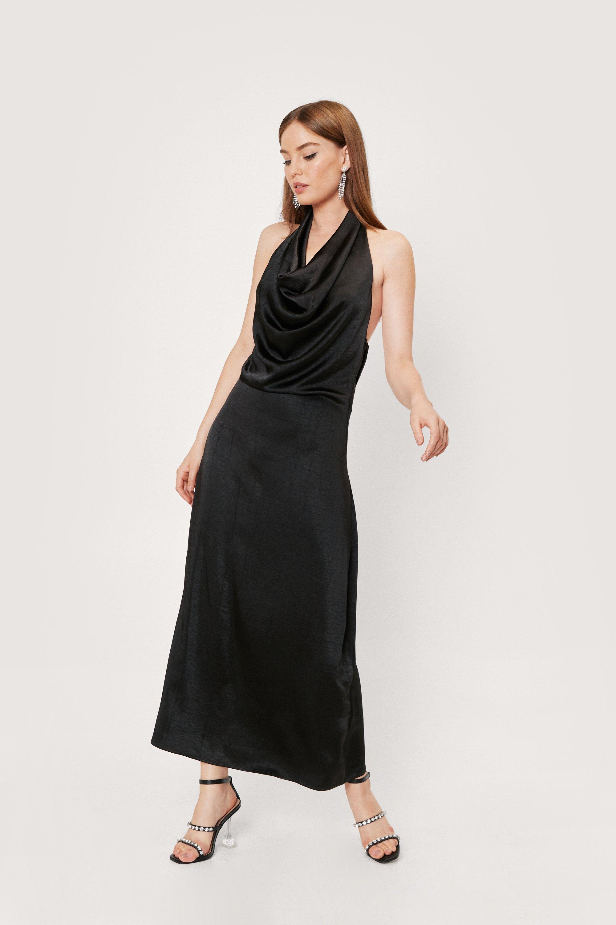 1970s Outfit Inspiration   70s Costume Ideas Womens Slinky Cowl Neck Backless Maxi Dress - Black - 10 $26.00 AT vintagedancer.com