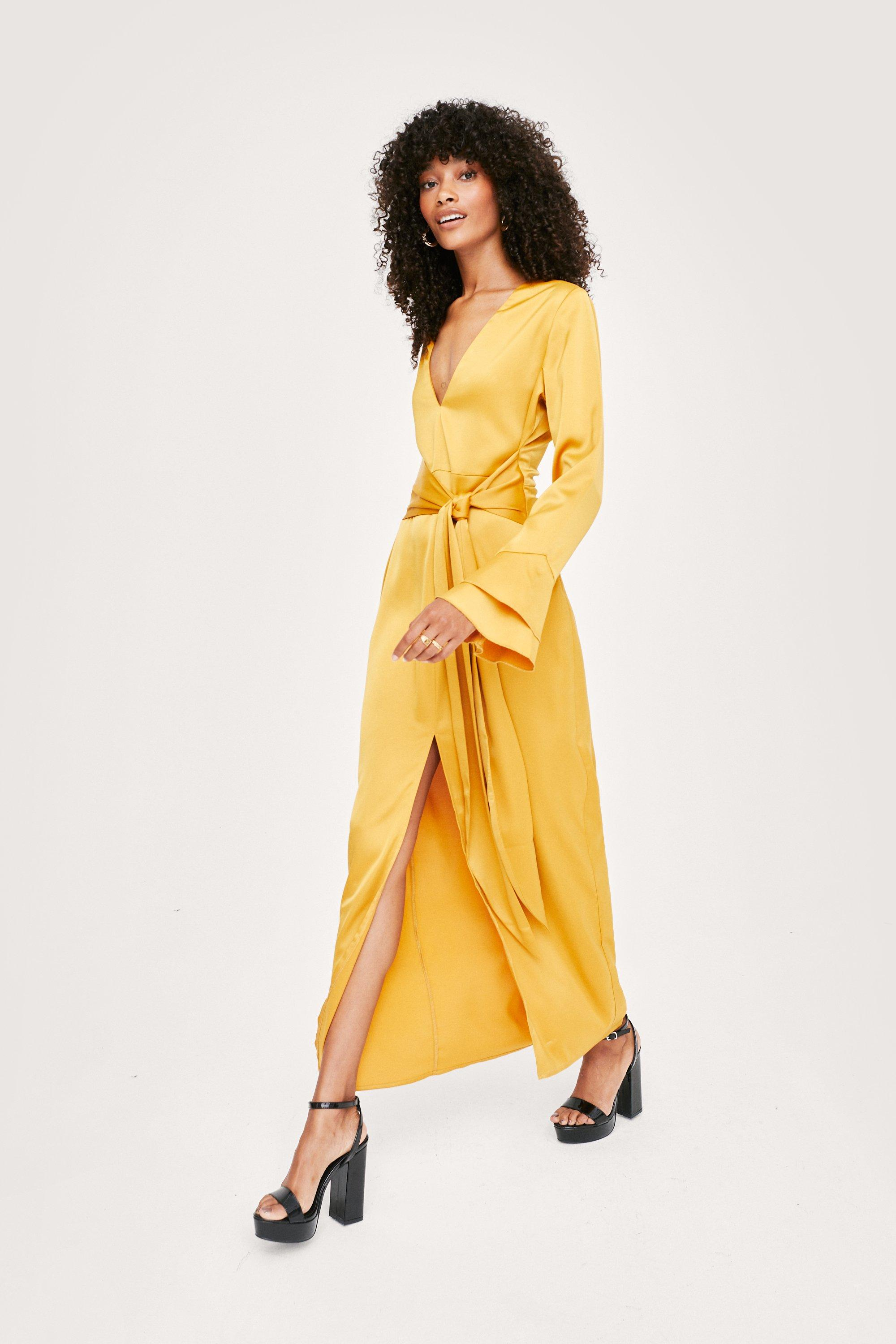 1970s Outfit Inspiration   70s Costume Ideas Womens Satin Tie Front Bell Sleeve Midi Tea Dress - Ochre - 10 $42.50 AT vintagedancer.com