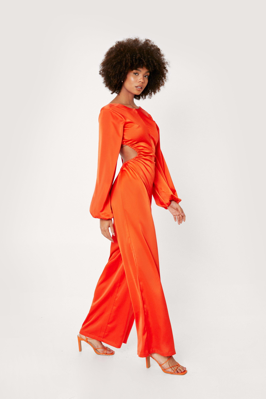 70s Clothes | Hippie Clothes & Outfits Womens Cut Out Satin Jumpsuit - Orange - 10 $77.00 AT vintagedancer.com