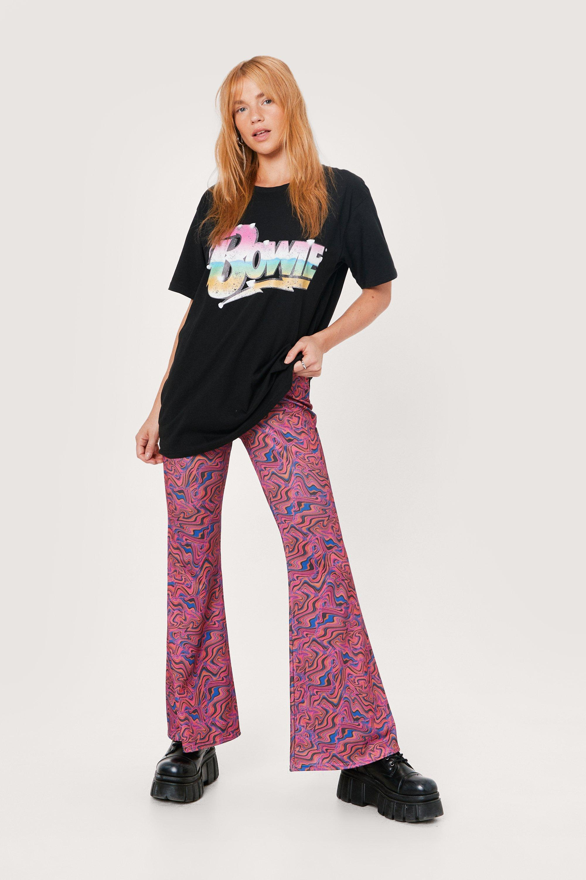 1960s Style Clothing & 60s Fashion Womens Petite Marble Print High Waisted Flare Pants - Pink - 10 $21.50 AT vintagedancer.com
