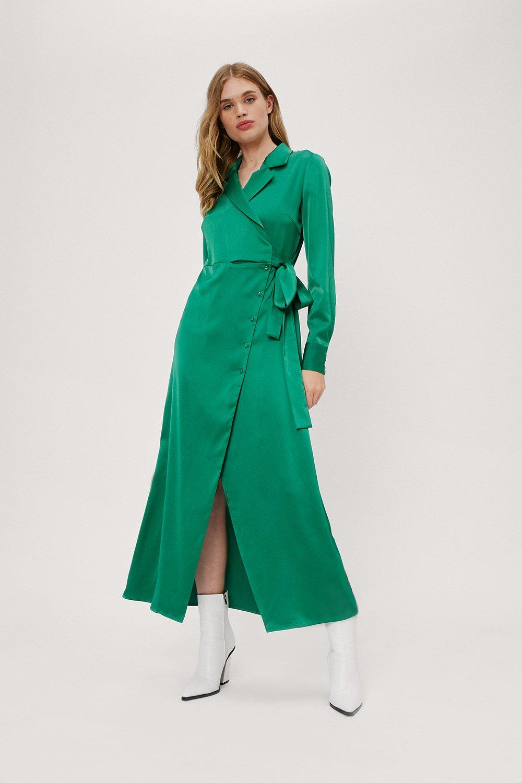 70s Sequin Dresses, Disco Dresses Womens Button Wrap Midaxi Plain Satin Shirt Dress - Green - 10 $30.80 AT vintagedancer.com