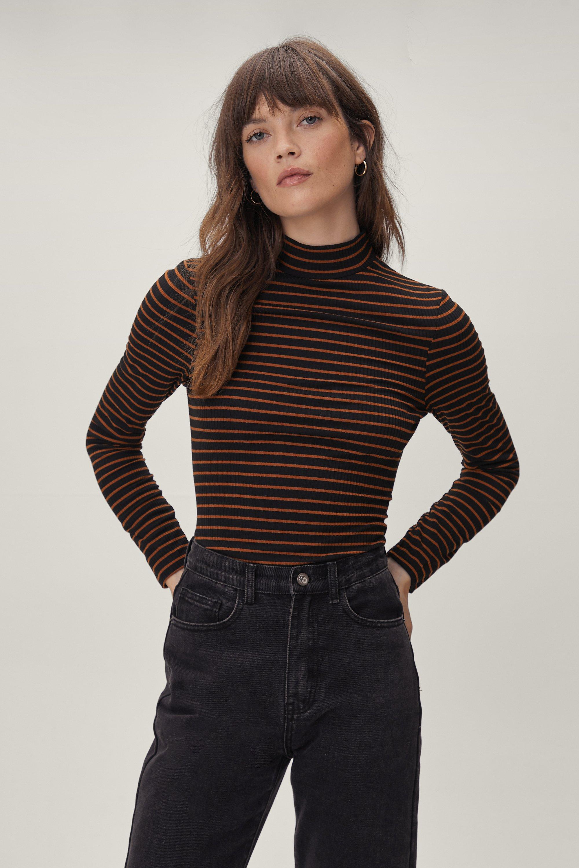 60s Shirts, T-shirts, Blouses, Hippie Shirts Womens Roll Neck Striped Top - Black - M $10.40 AT vintagedancer.com