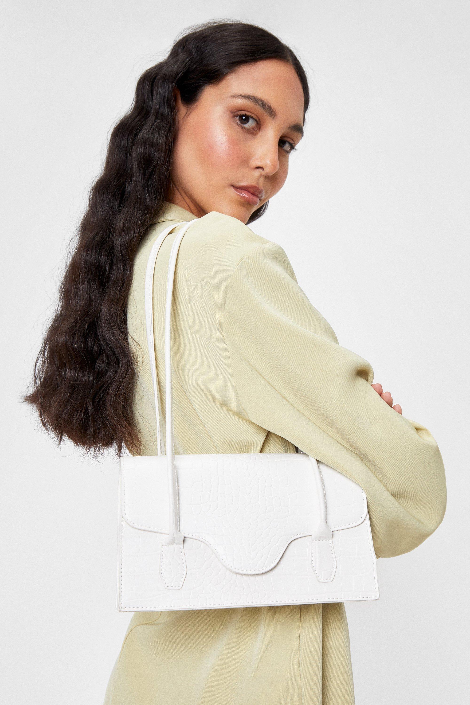 Vintage Handbags, Purses, Bags *New* Womens Croc Faux Leather Shoulder Bag - White - One Size $17.00 AT vintagedancer.com
