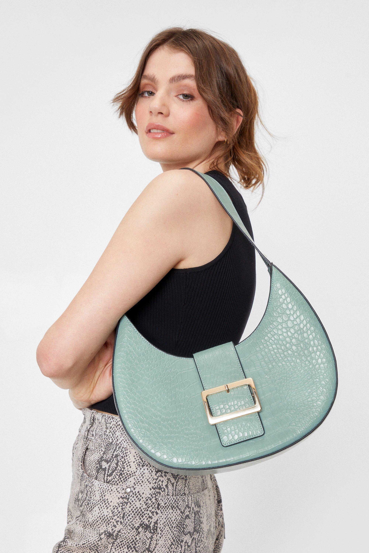 Vintage Handbags, Purses, Bags *New* Womens WANT Croc Oversized Buckle Bag - Mint - One Size $14.00 AT vintagedancer.com