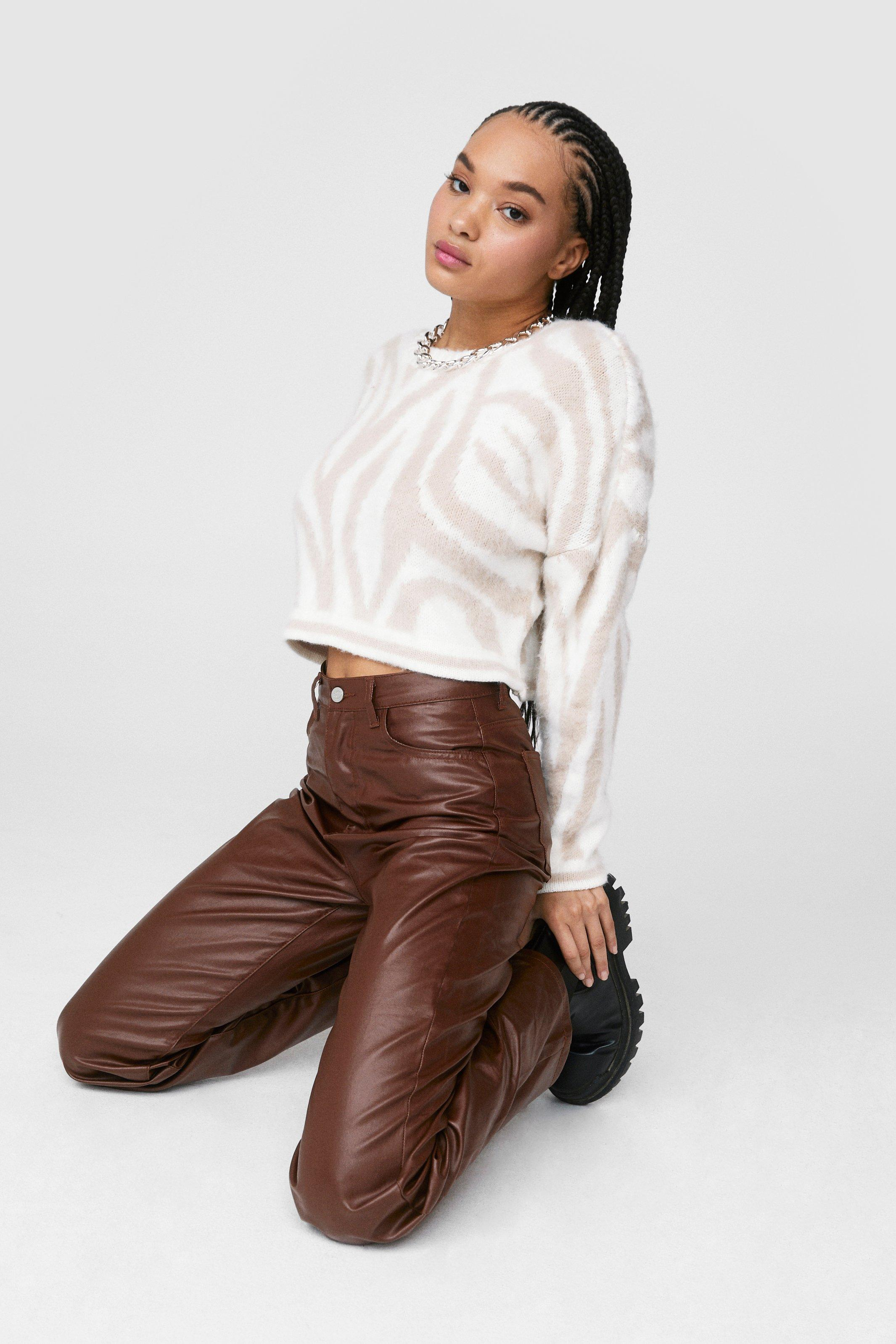 90s Clothing Outfits You Can Buy Now Womens Dru Coated Wide Leg Jeans - Chocolate - 10 $26.00 AT vintagedancer.com