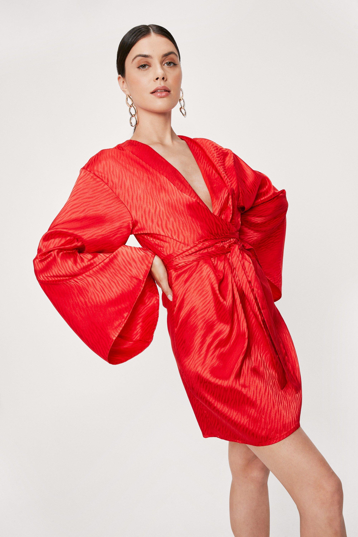 70s Disco Fashion: Disco Clothes, Outfits for Girls Womens Animal Jacquard Satin V Neck Mini Dress - Orange - 6 $35.50 AT vintagedancer.com