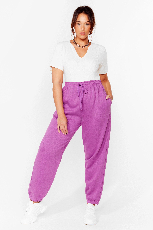 Womens Grande Taille - Pantalon De Jogging Taille Haute Je Pars Courir Un Petit Peu - Violet - 44, Violet