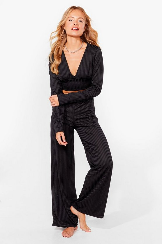 Time to Chill Ribbed Wide-Leg Lounge Set