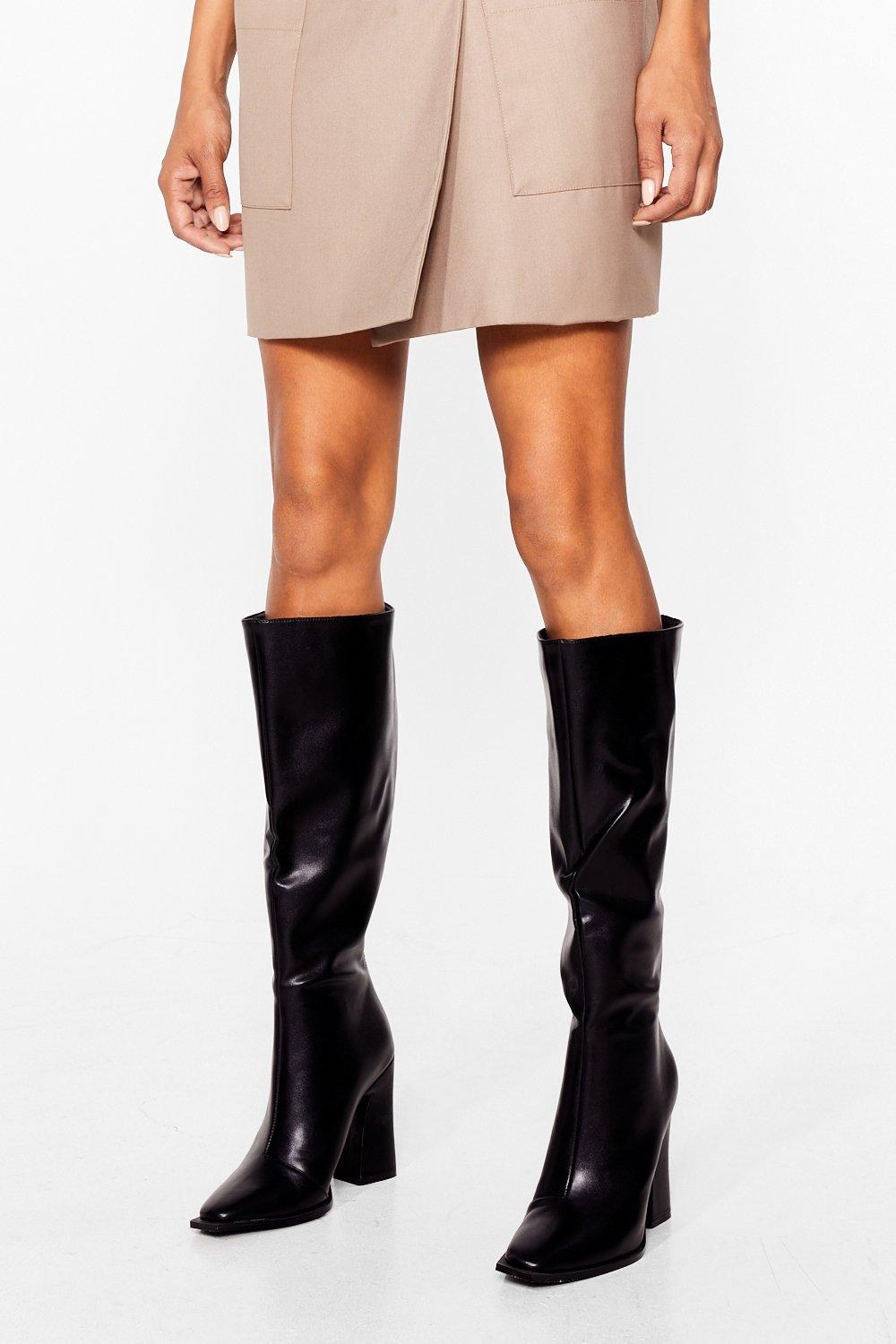Details about  /Women Slouch Pull On Block High Heel Round Toe Knee High Riding Boots Outdoor D
