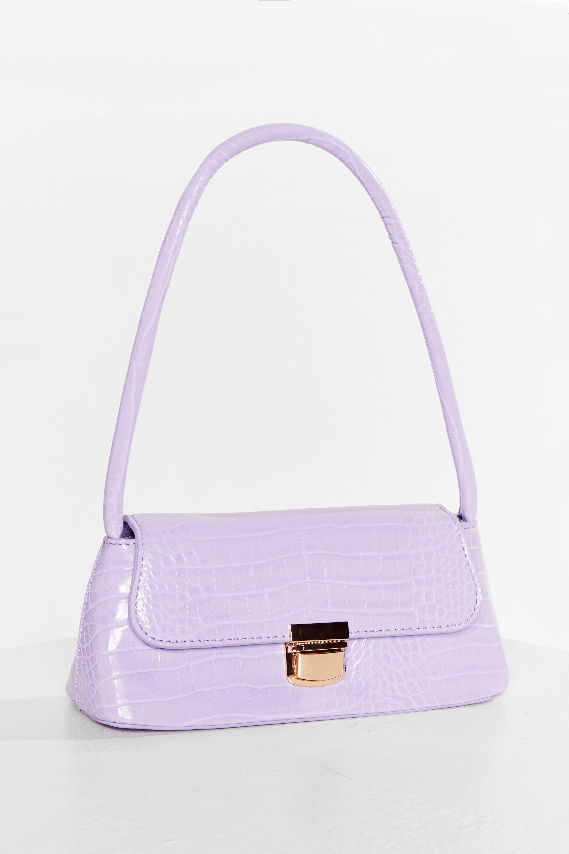 Vintage Handbags, Purses, Bags *New* Womens Want Faux Leather Croc Shoulder Bag - Lilac - One Size $13.50 AT vintagedancer.com