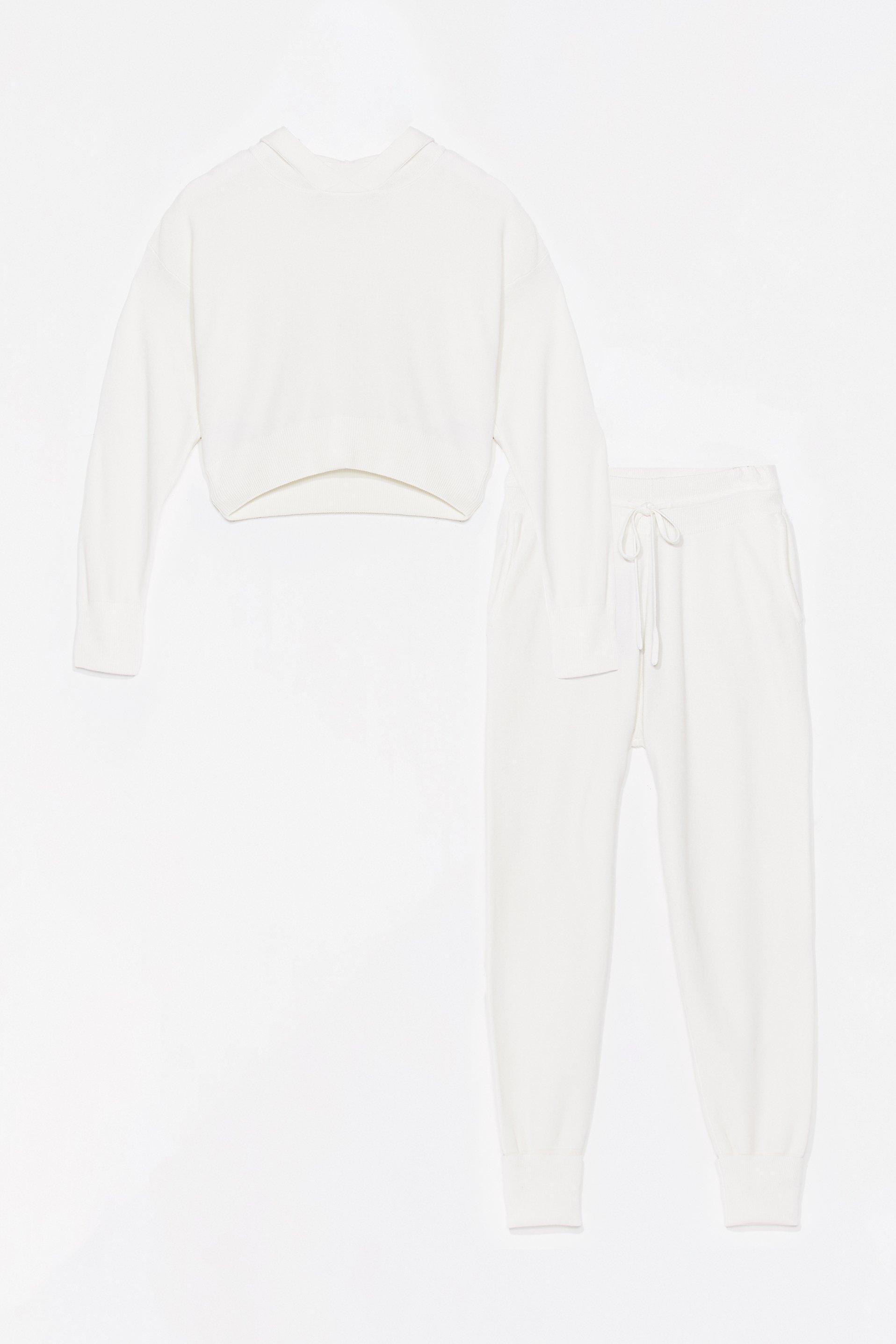 Womens Ensemble De Confort Sweat & Pantalon De Jogging En Maille J'Active Le Mode Flemme - Blanc - S, Blanc