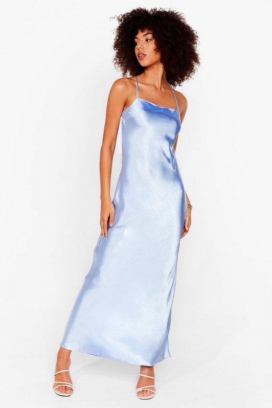 Don't Slip Down Satin Maxi Dress