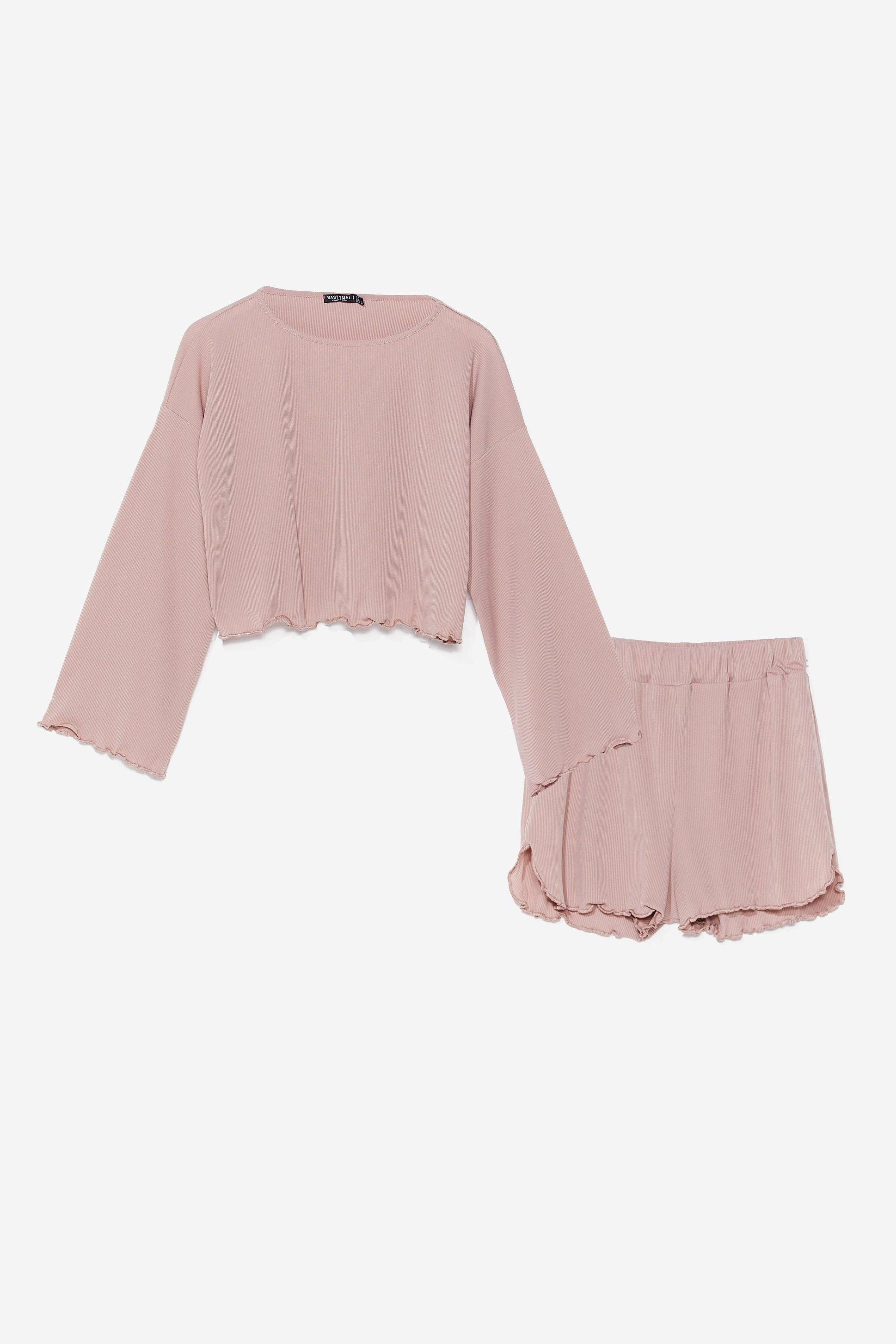 Rib's Been a Long Day Ruffle Pyjama Shorts Set