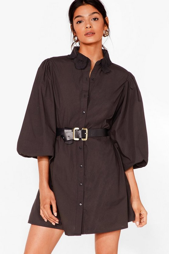 Lace Your Steps Puff Sleeve Shirt Dress