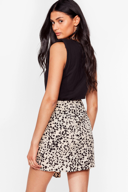 Black and White Wrap-Around Mini Skirt with Animal Prints