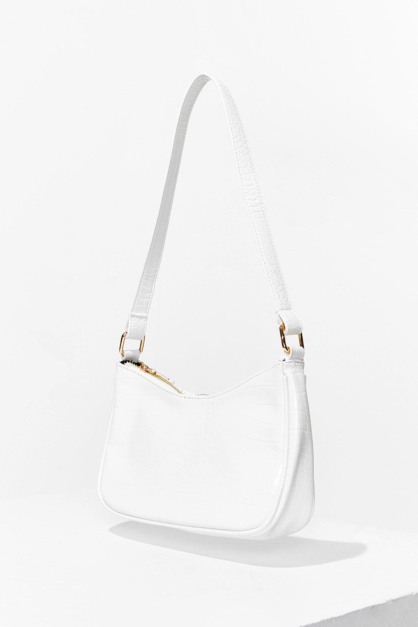 Vintage Handbags, Purses, Bags *New* Womens Want Croc Embossed Shoulder Bag - White - One Size $21.50 AT vintagedancer.com