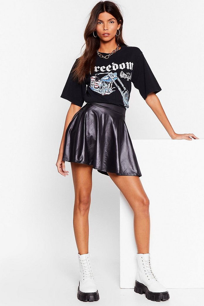 Mini Jupe Patineuse En Similicuir Double Axel D Amour Nasty Gal