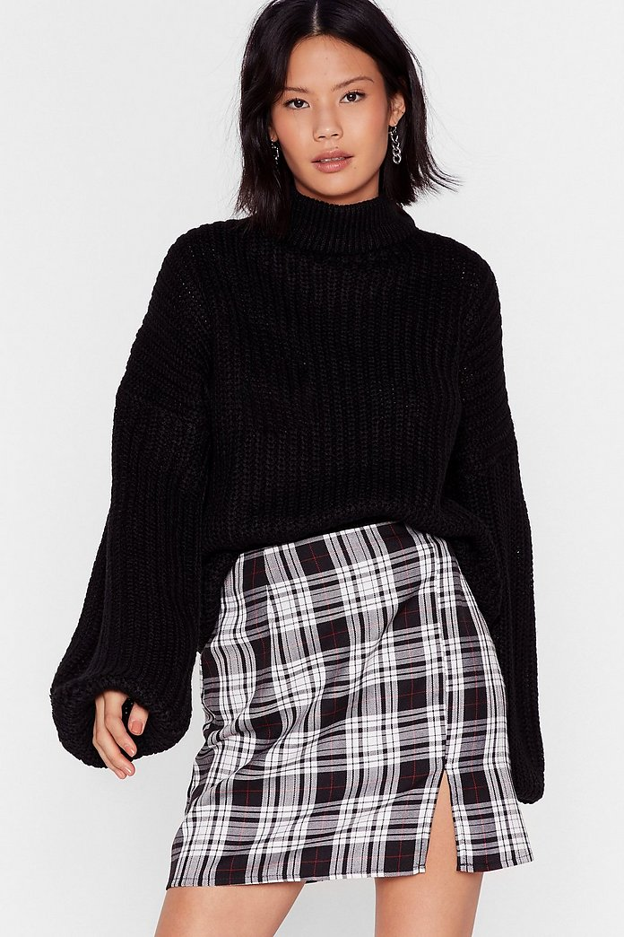 Balloon Sleeve Turtleneck Sweater In Chunky Knit Nasty Gal