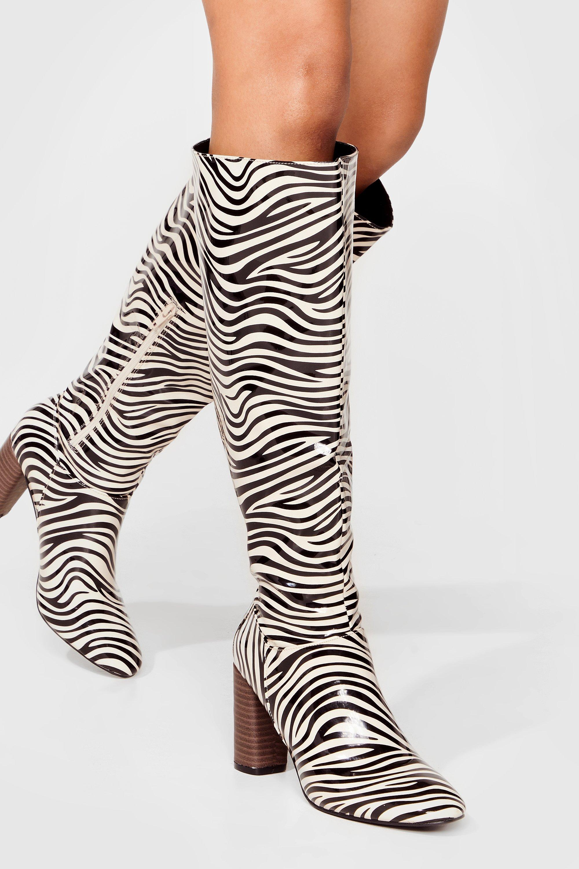 Womens Flat Heel Knee High Boots Outer zip detail zebra  Ladies Size UK 4