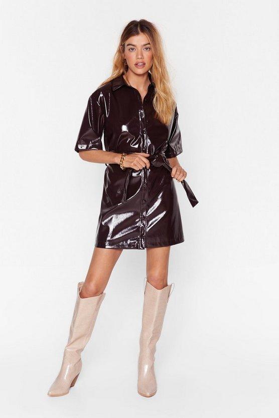 Vinyl Countdown Mini Shirt Dress