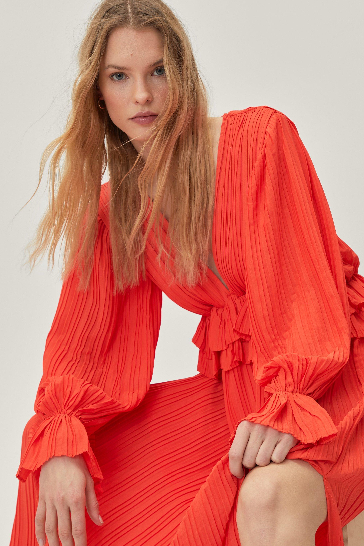 Vintage Evening Dresses, Vintage Formal Dresses Womens Frill V Neck Maxi Dress - Orange - 10 $37.60 AT vintagedancer.com