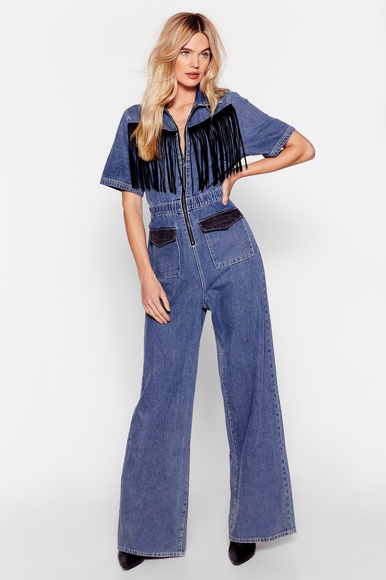 70s Jumpsuit | Disco Jumpsuits, Sequin Rompers Womens Fringe Denim Jumpsuit - Blue - 6 $44.40 AT vintagedancer.com