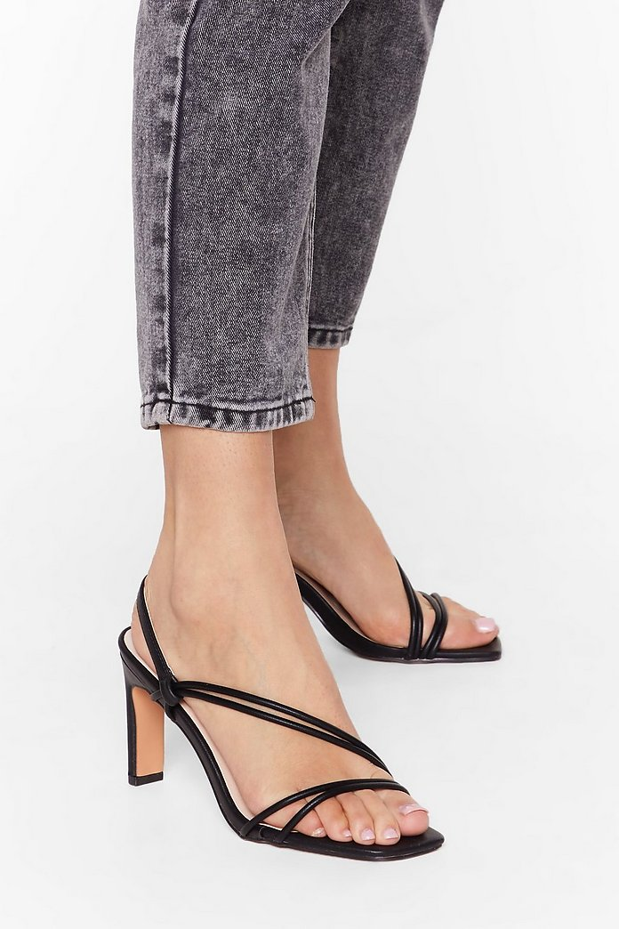 Strappy Go Lucky Faux Leather Slingback Heels | Nasty Gal