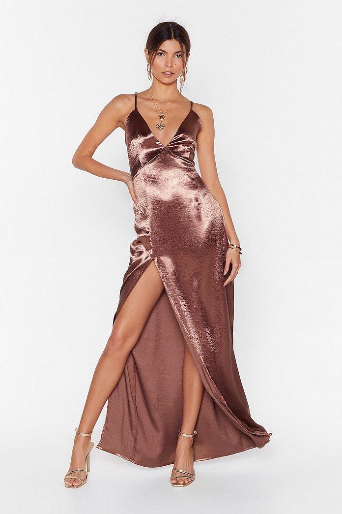Look At You Satin Maxi Dress | Nasty Gal