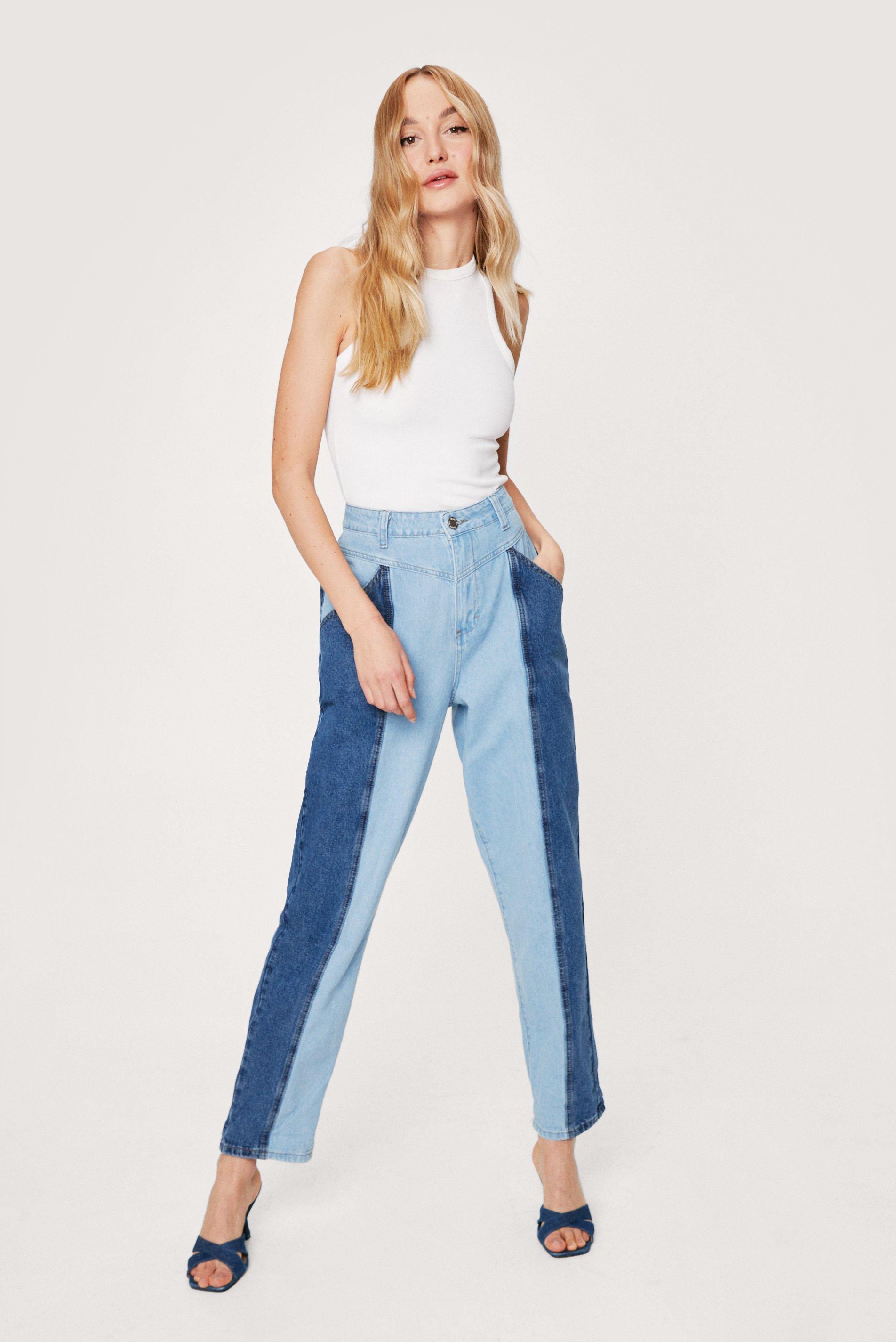 80s Jeans, Pants, Leggings | 90s Jeans Womens Two Tone Denim Mom Jeans - Blue - 10 $24.00 AT vintagedancer.com