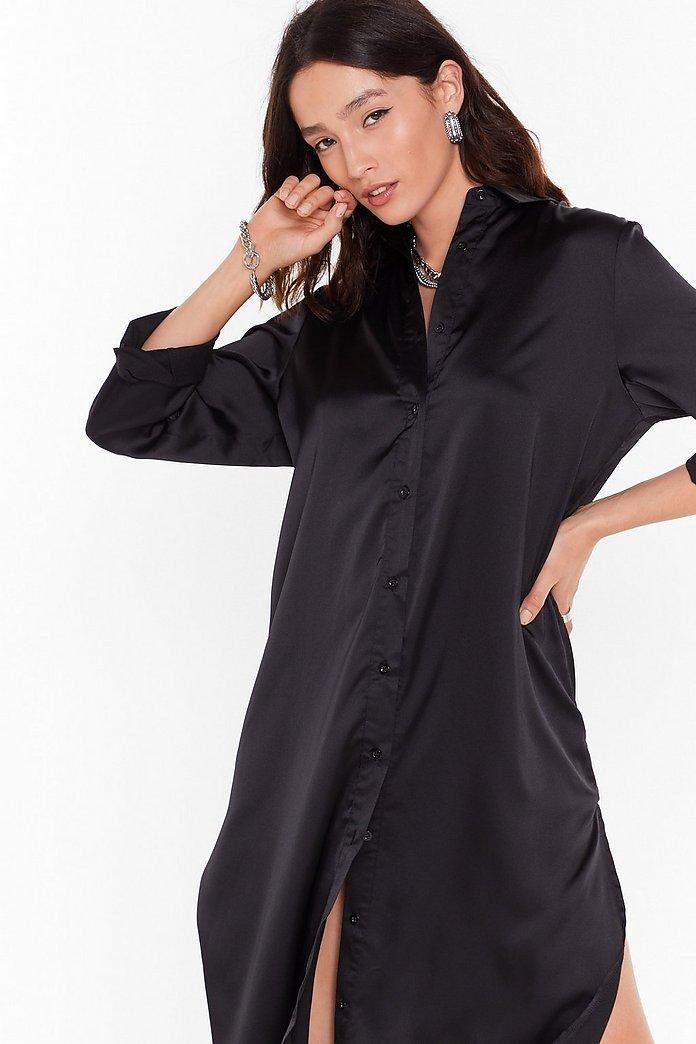 Slit Refresh Satin Shirt Dress   Nasty Gal