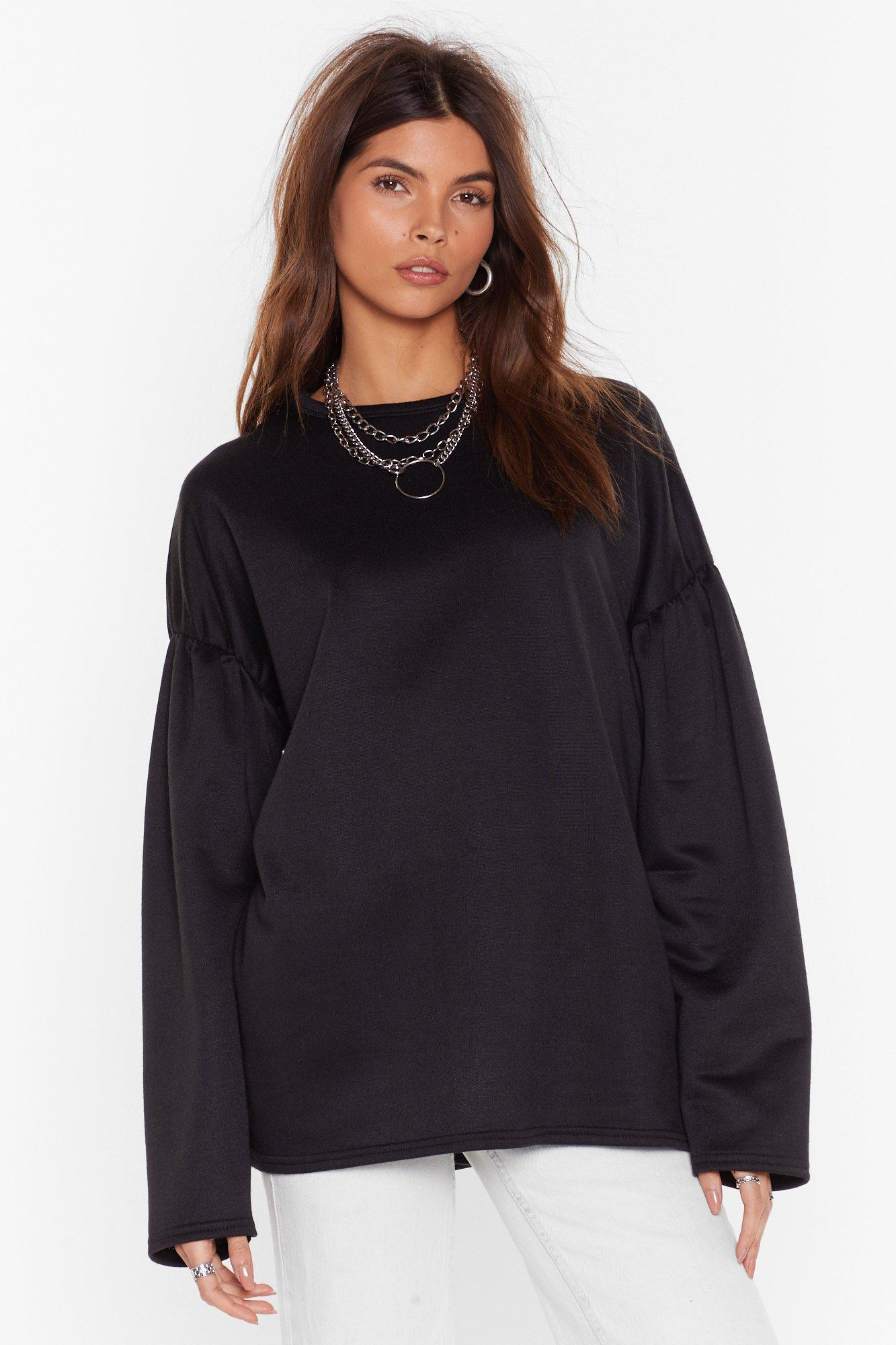 Sweat oversize à manches bouffantes J'attends