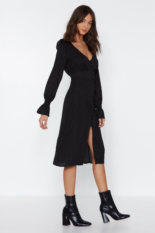 521e9d32f7e Womens Black Button-Down With Something Midi Dress