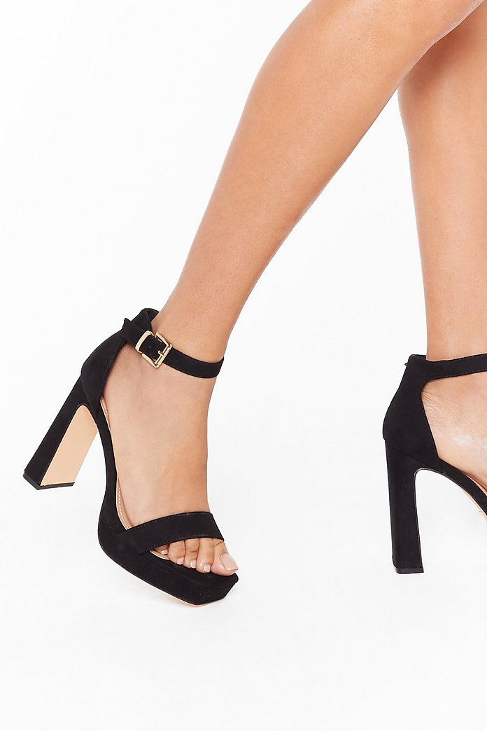 Full Exposure Faux Suede Flare Heels | Nasty Gal