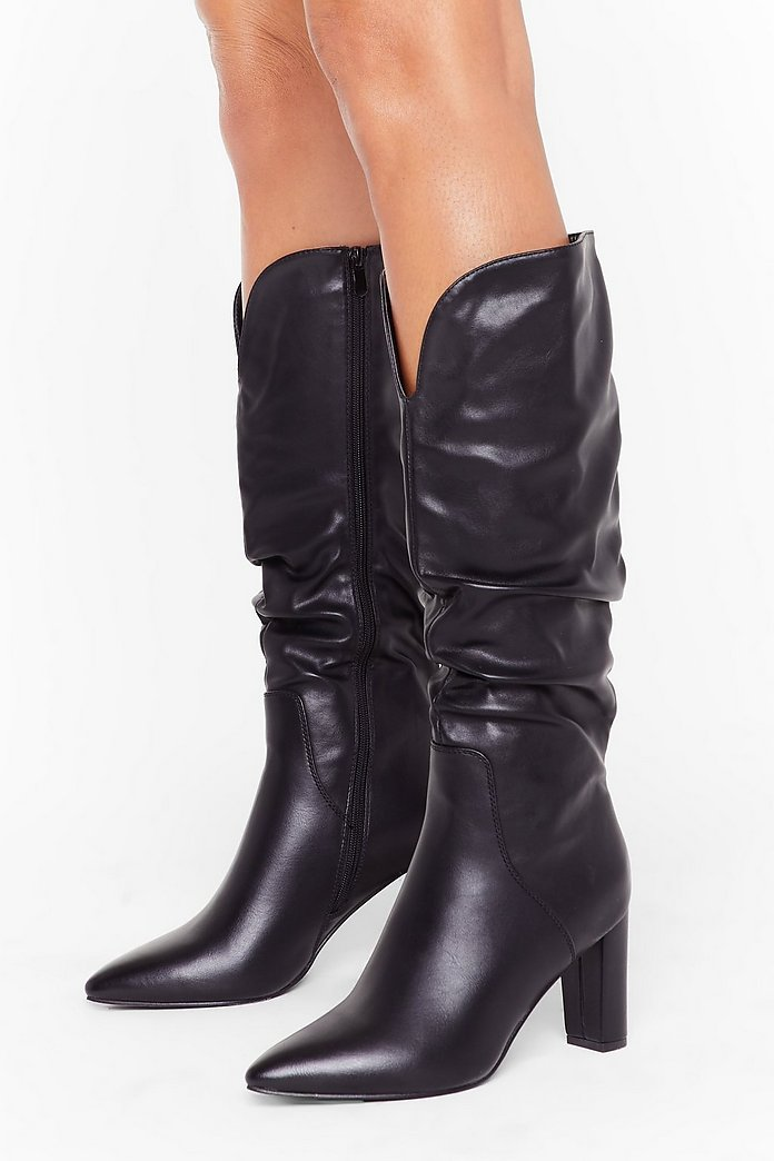 Heel Like Dancing Faux Leather Knee High Boots | Nasty Gal