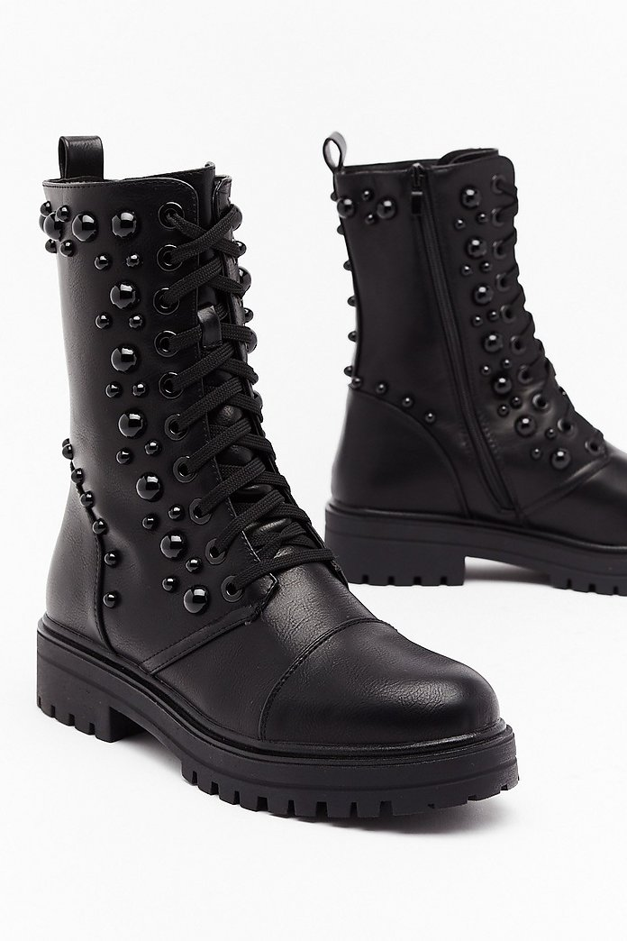 Stud Up Lace Up Biker Boots Nasty Gal