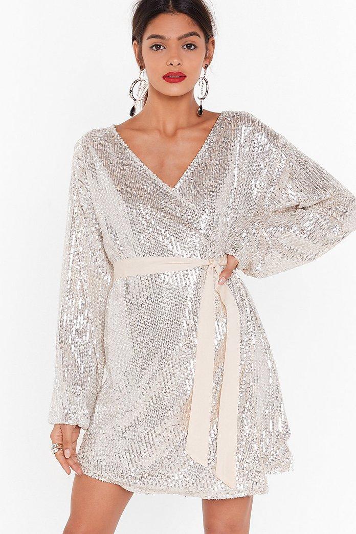 Born to Sequin Wrap Mini Dress | Nasty Gal