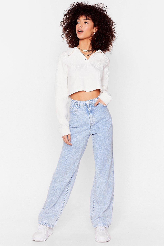 80s Outfit Inspiration, Party Ideas Womens Dru Faded Wide Leg Jeans - Acid Wash Light Blue - 12 $31.00 AT vintagedancer.com