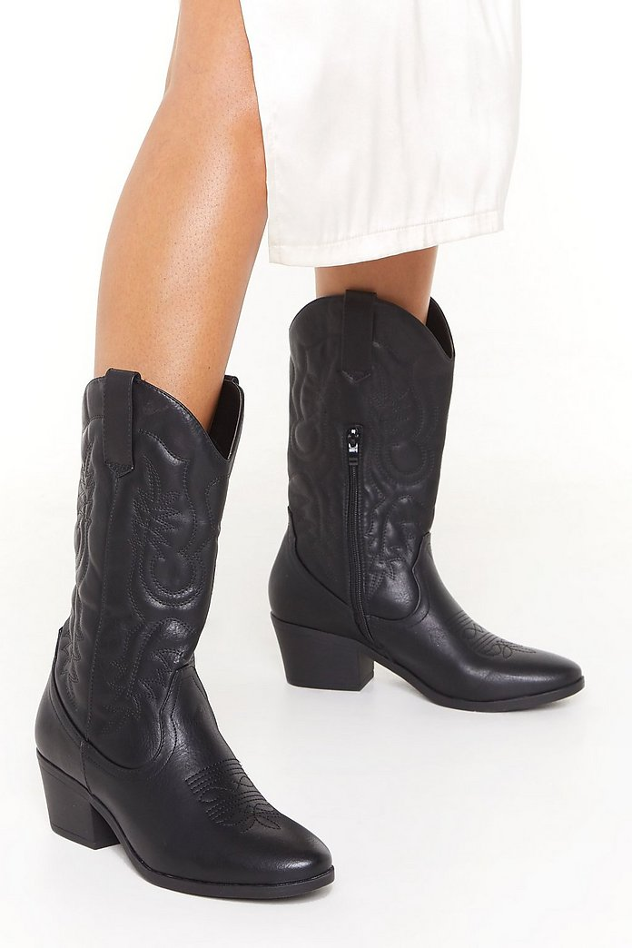The Midwest Faux Leather Cowboy Boots | Nasty Gal