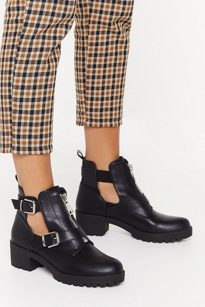 Cut Out Leather Double Buckle Boot