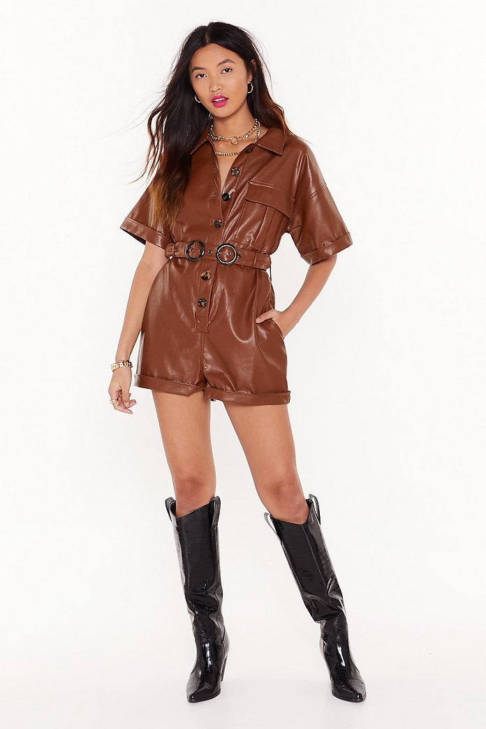 At One Faux Leather Button-Down Romper