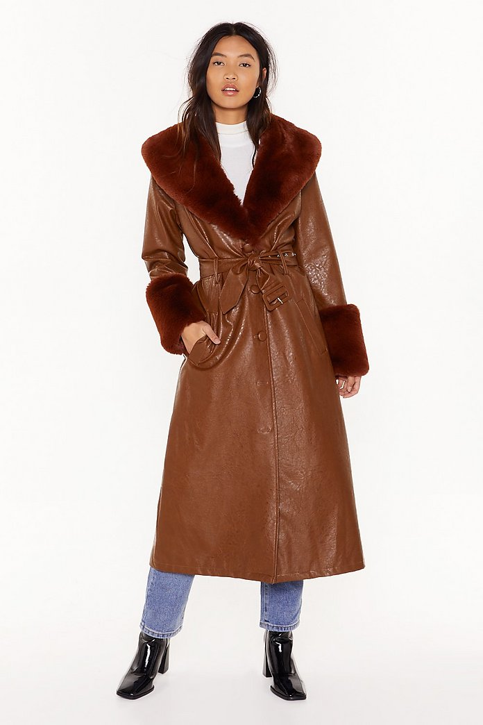 Coat with a faux fur collar