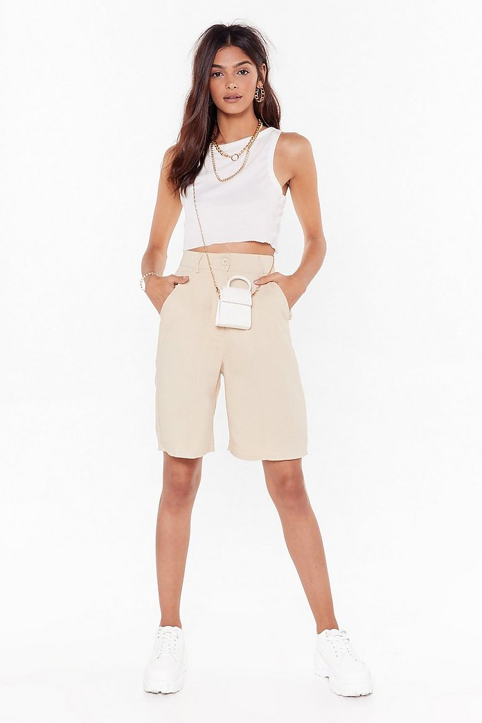 Longline No See High Waisted Tailored Shorts by Nasty Gal