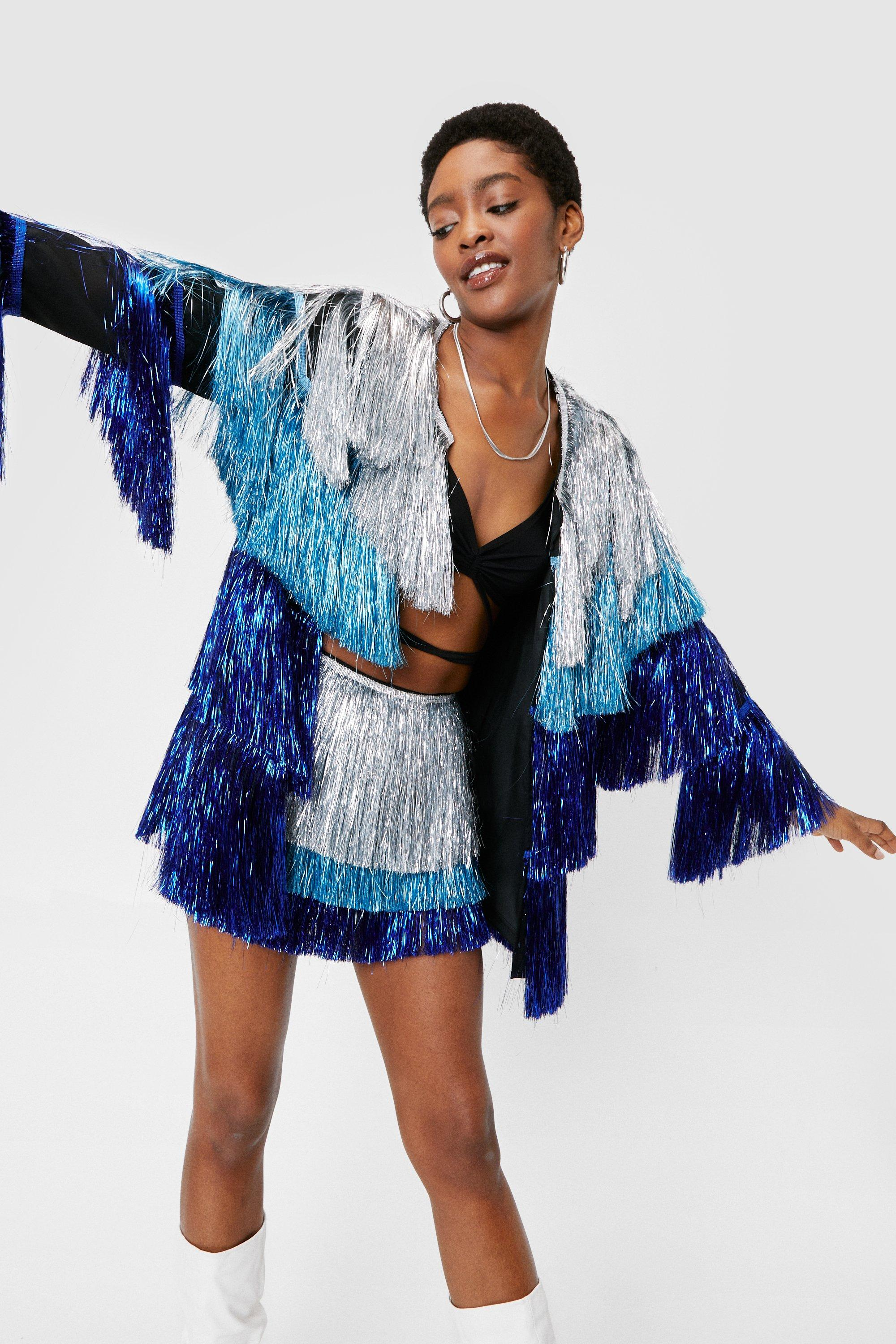 70s Clothes | Hippie Clothes & Outfits Womens Metallic Tiered Fringe Open Front Jacket - Blue - 8 $98.00 AT vintagedancer.com
