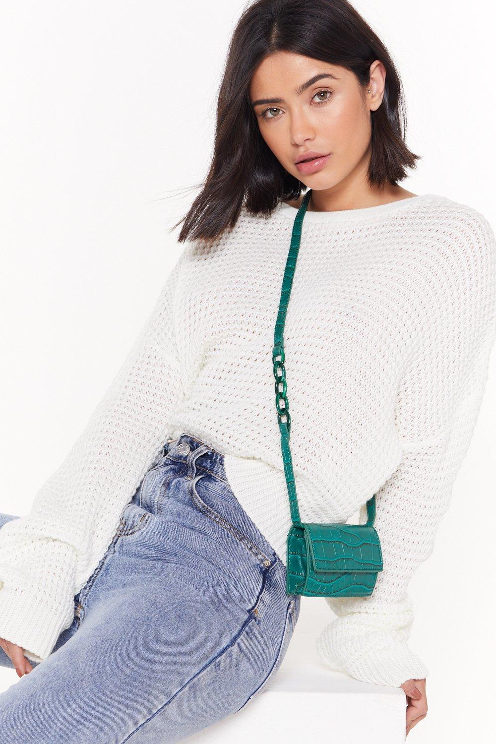 b6851a014171 WANT Getting Croc in Here Faux Leather Crossbody Bag   Shop Clothes at  Nasty Gal!