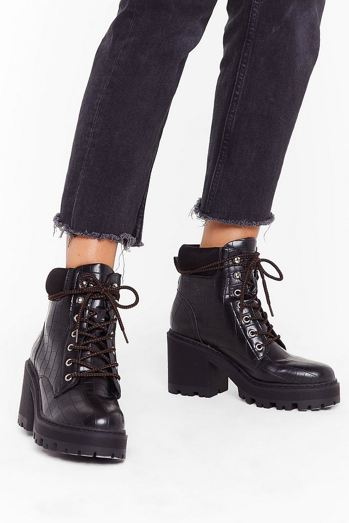 to buy a few days away popular brand Lace-Up to No Good Heeled Hiker Boots | Nasty Gal