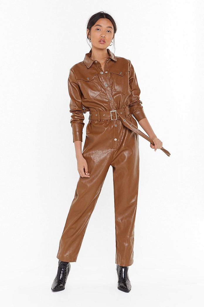 Working On It Faux Leather Belted Boilersuit