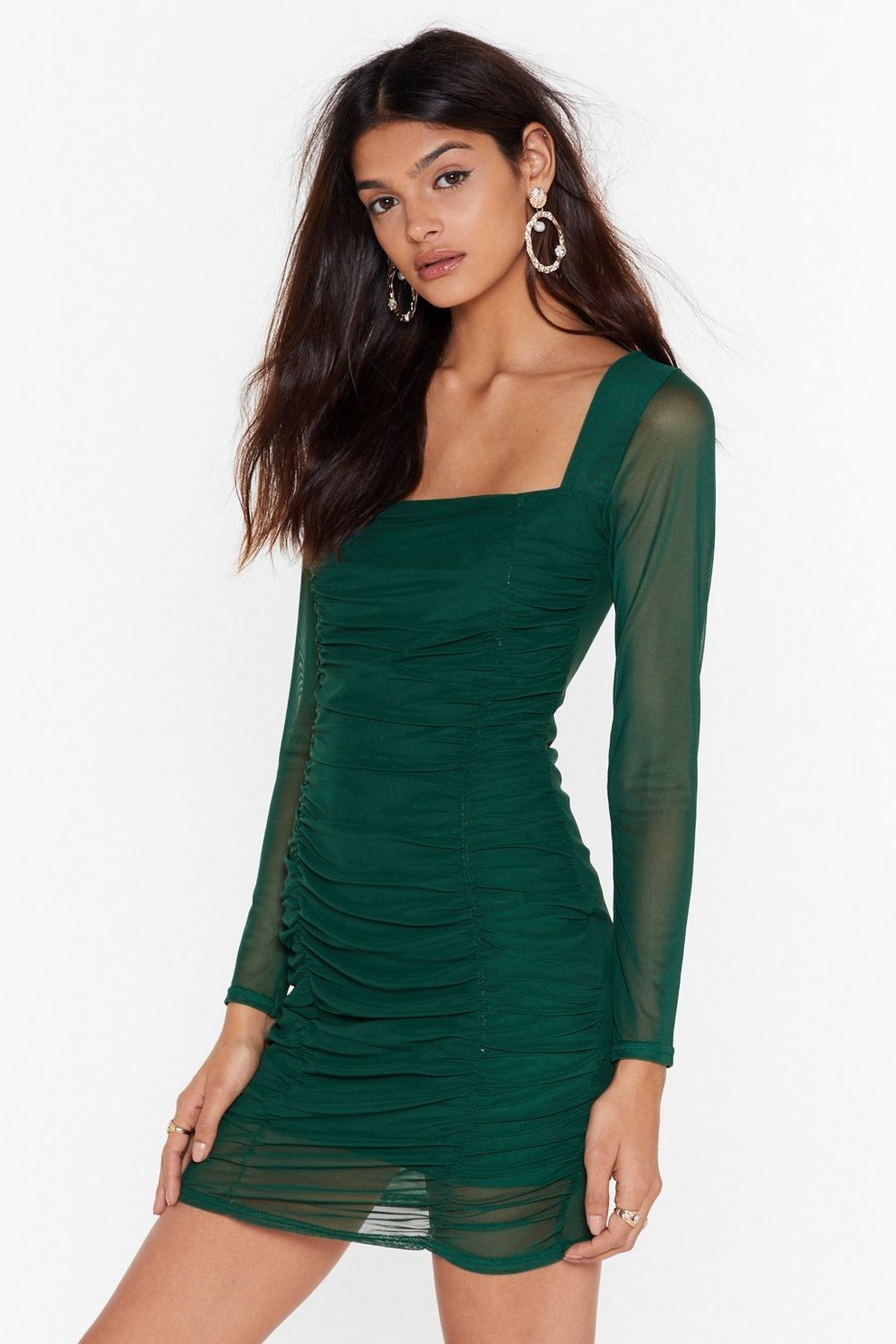 7013d6e6d3bfb On Our Mesh Behaviour Ruched Mini Dress   Shop Clothes at Nasty Gal!